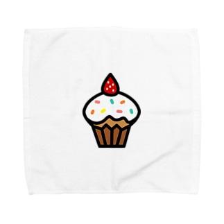 イチゴのカップケーキ Towel handkerchiefs