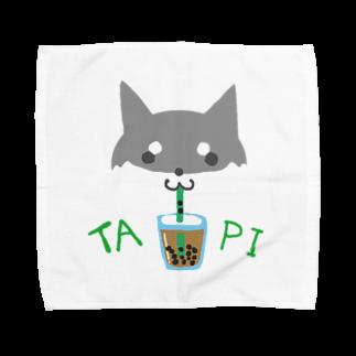 浅木愁太@LINEスタンプ販売中のタピ柴さん(黒柴) Towel handkerchiefs
