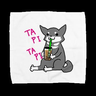 浅木愁太@LINEスタンプ販売中のタピタピ柴さん(黒柴) Towel handkerchiefs