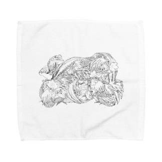 日本の美 葛飾北斎「群鶏」モノクロ版 Towel handkerchiefs