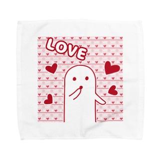 白いハニワ【LOVE】 タオルハンカチ