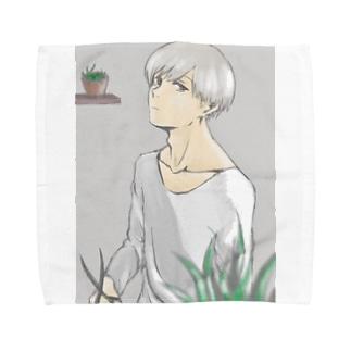 植物と男の子 Towel handkerchiefs