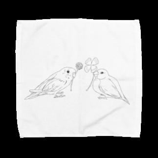 Lily bird(о´∀`о)のセキセイインコと文鳥とクローバー モノクロ① Towel handkerchiefs