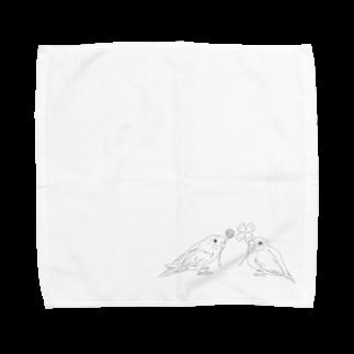 Lily bird(о´∀`о)のセキセイインコと文鳥とクローバー モノクロ② Towel handkerchiefs