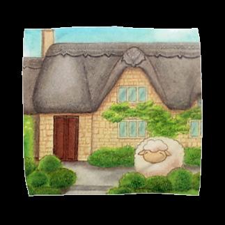 ひつじ好きの未草のギャラリーの茅葺屋根のお家とひつじさん Towel handkerchiefs