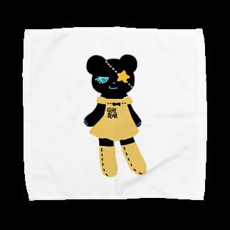 Suzuki Satomi イラストショップの黒クマちゃん Towel handkerchiefs