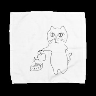 うまみのやきそばをつくるねこ Towel handkerchiefs