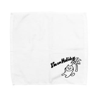 休暇中のネコ Towel handkerchiefs