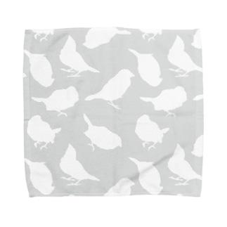 灰色とりしるえっと Towel handkerchiefs