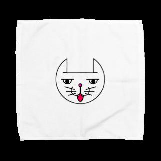 ヒロさんのグッズのネコだお(口開け)(カラー) Towel handkerchiefs
