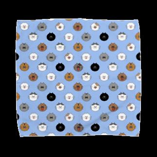 lililililのにゃんにゃんみー大集合!(青) Towel handkerchiefs