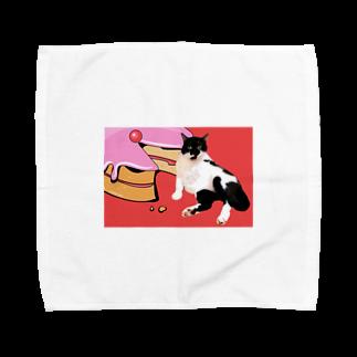 保護猫活動家すみパンさん家への支援グッズ!のNo.16 ケーキに寄りかかるバットにゃん Towel handkerchiefs