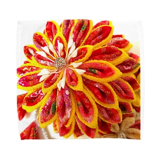 赤花咲いた Towel handkerchiefs
