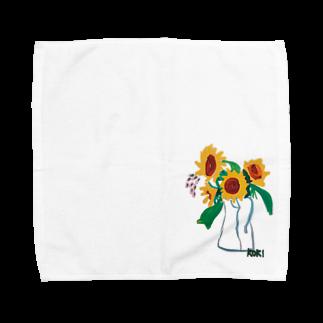 ✈オノウエ コウキのひまわり Towel handkerchiefs