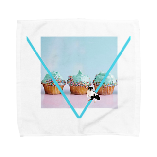 保護猫活動家すみパンさん家への支援グッズ!のNo.19 カップケーキ バットにゃん♪ Towel handkerchiefs