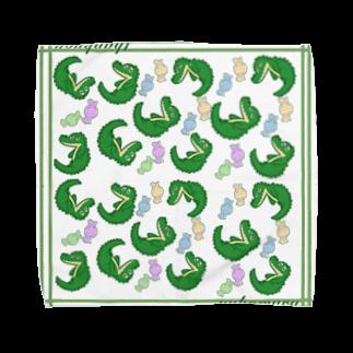 ゆこゆーこ工房のペロワニくん Towel handkerchiefs