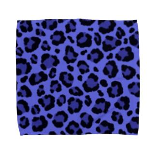 ヒョウ柄(ブルー) Towel handkerchiefs