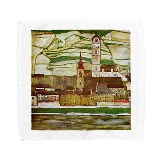 Art Baseのエゴン・シーレ / 1913 /Stein on the Danube, Seen from the South / Egon Schiele Towel handkerchiefs