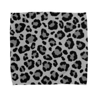 ヒョウ柄(モノクロ) Towel handkerchiefs