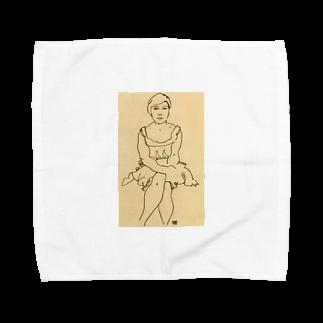 Art Baseのエゴン・シーレ / 1918 / Sitting Woman / Egon Schiele Towel handkerchiefs
