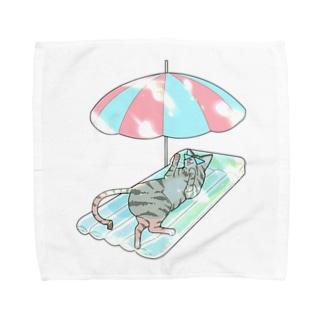 殿と海/わたしと猫の殿 Towel handkerchiefs