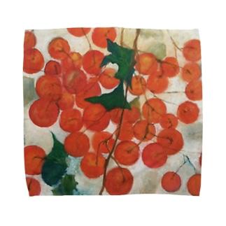「赤い実」 Towel handkerchiefs