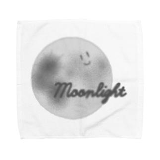 顔つき月【モノクロ】 Towel handkerchiefs