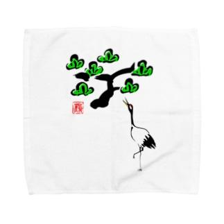 松と鶴 墨絵風Tシャツ Towel handkerchiefs