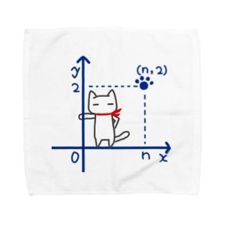 第一象限に立つネコ Towel handkerchiefs