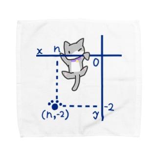 第三象限からよじのぼるネコ Towel handkerchiefs