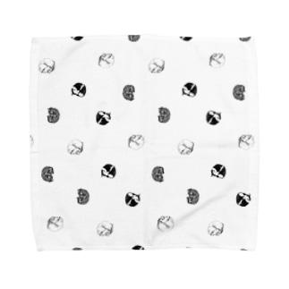 【水玉にゃんもないと3柄】 Towel handkerchiefs