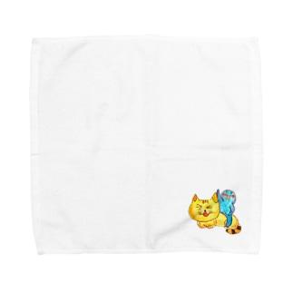 ミャーコとくにゃくにゃさん Towel handkerchiefs
