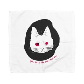 odd-eyed cat Towel handkerchiefs