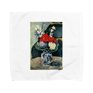 ポール・セザンヌ / 1874 /Still life, Delft vase with flowers / Paul Cezanne Towel handkerchiefs