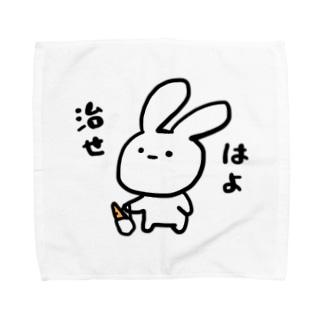 無表情うさぎ Towel handkerchiefs