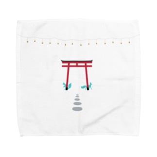 鳥居と狐 Towel handkerchiefs
