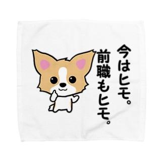 ひもチワワ♂グッズ公式ショップのひもチワワ♂。「今はヒモ。前職もヒモ。」 Towel handkerchiefs