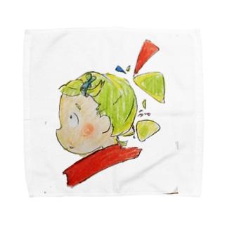 黄緑色の髪の髪留めをつけた少女(イラスト 女の子 色鉛筆)ふっふ Towel handkerchiefs