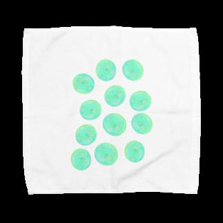 水草のグリーン玉いっぱい Towel handkerchiefs