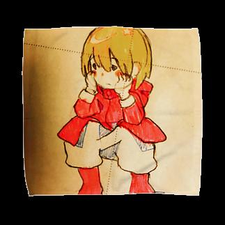 fuffu_dazoのしゃがんでいる少女(イラスト 女の子 鉛筆)ふっふ Towel handkerchiefs