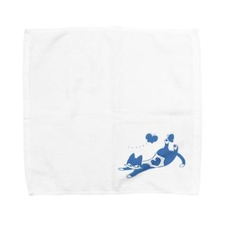 寝そべりハートねこ Towel handkerchiefs