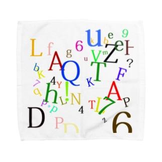 アルファベットと数字の洪水2 Towel handkerchiefs
