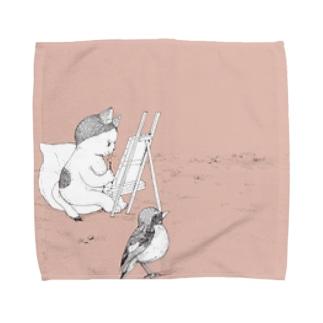 猫と鳥 02 Towel handkerchiefs