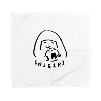 陽気なおにぎりガール Towel handkerchiefs