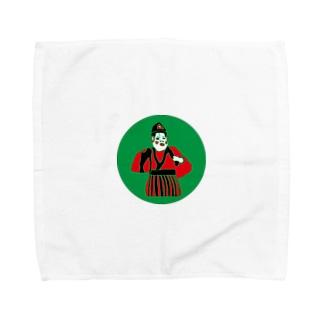 中津神社の鳥居前の田の神 Towel handkerchiefs
