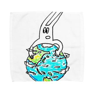 地球をクルクルするぴゅー Towel handkerchiefs