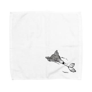 うもれるイヌさん Towel handkerchiefs