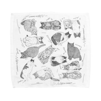 同窓会2:3の猫さんハンカチ Towel handkerchiefs