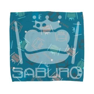 カエル ドラム スケルトンロゴonちりばめられたサブロー Towel handkerchiefs