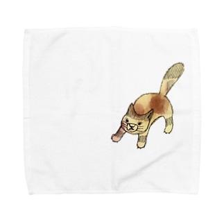 闘うねこ Towel handkerchiefs